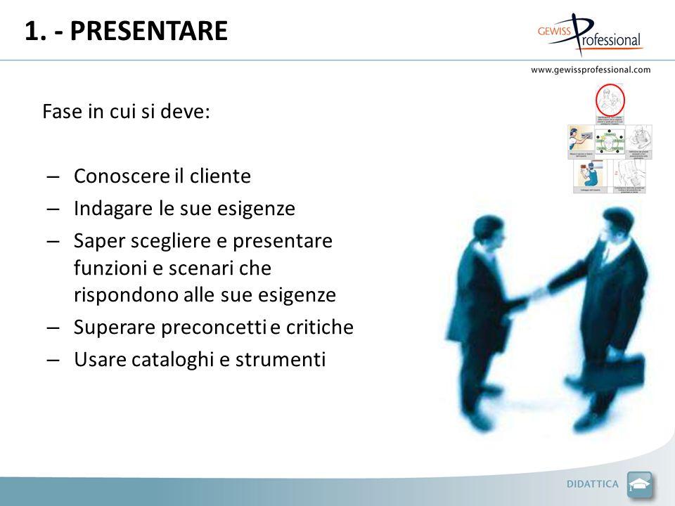 1. - PRESENTARE Fase in cui si deve: – Conoscere il cliente – Indagare le sue esigenze – Saper scegliere e presentare funzioni e scenari che rispondon
