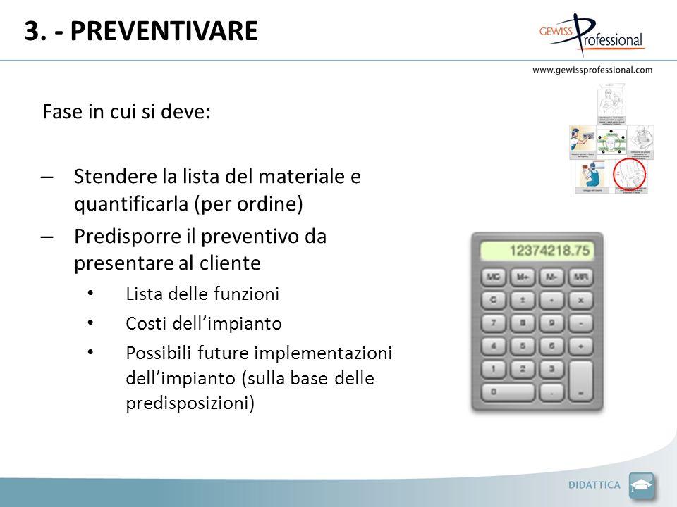3. - PREVENTIVARE Fase in cui si deve: – Stendere la lista del materiale e quantificarla (per ordine) – Predisporre il preventivo da presentare al cli