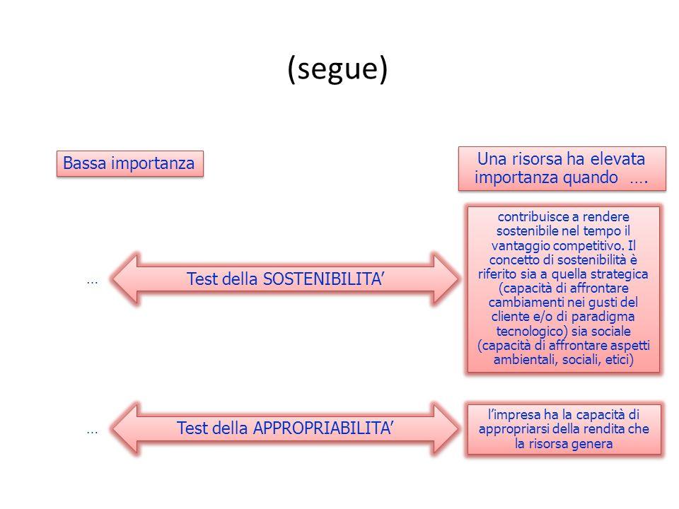 (segue) Test della SOSTENIBILITA Test della APPROPRIABILITA Una risorsa ha elevata importanza quando …. Bassa importanza limpresa ha la capacità di ap