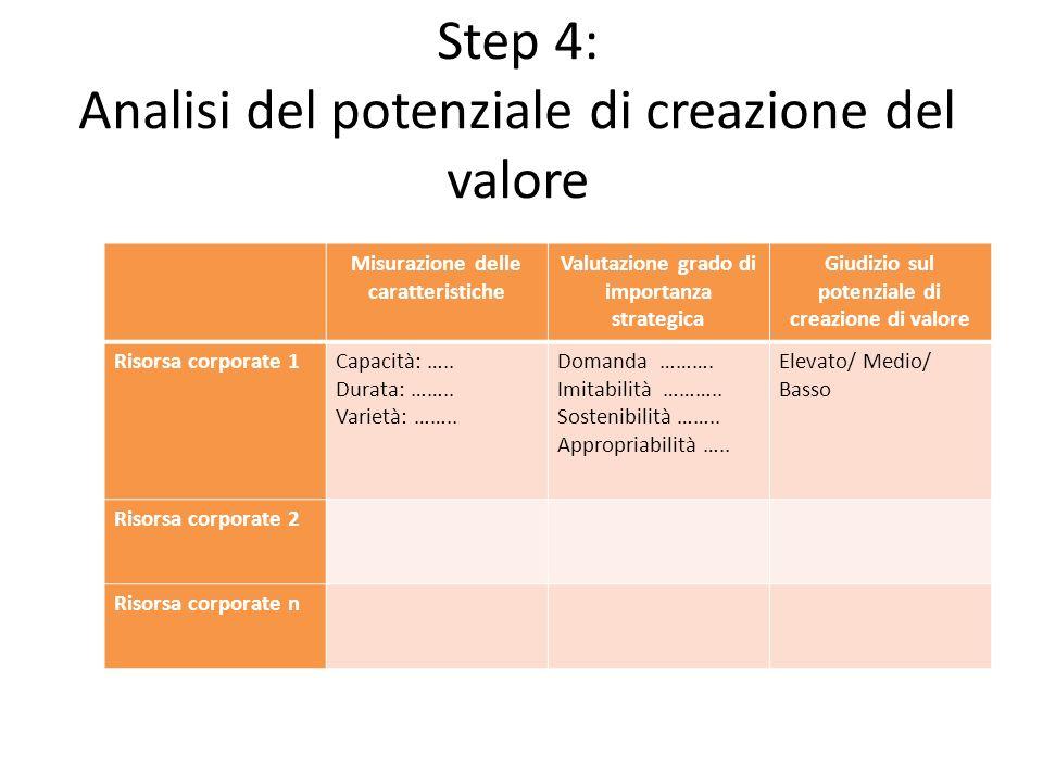Step 4: Analisi del potenziale di creazione del valore Misurazione delle caratteristiche Valutazione grado di importanza strategica Giudizio sul poten