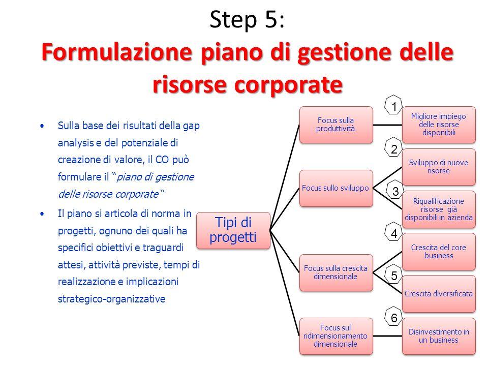 Formulazione piano di gestione delle risorse corporate Step 5: Formulazione piano di gestione delle risorse corporate Tipi di progetti Focus sulla pro