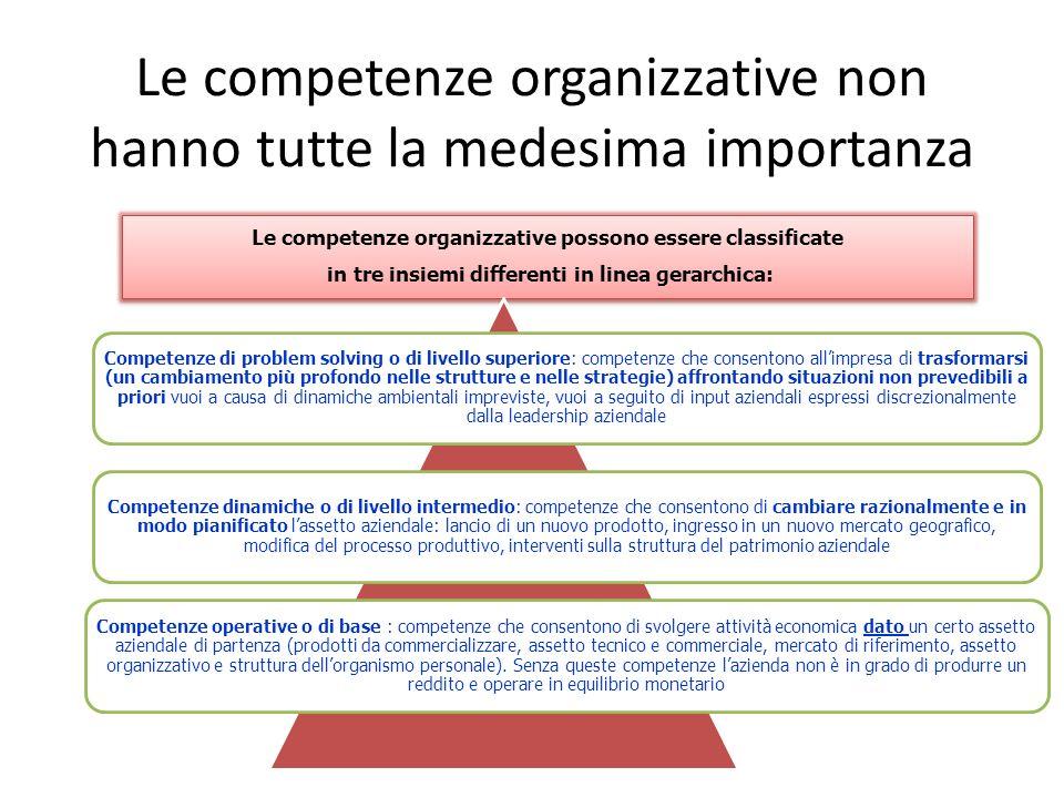 Le competenze organizzative non hanno tutte la medesima importanza Le competenze organizzative possono essere classificate in tre insiemi differenti i
