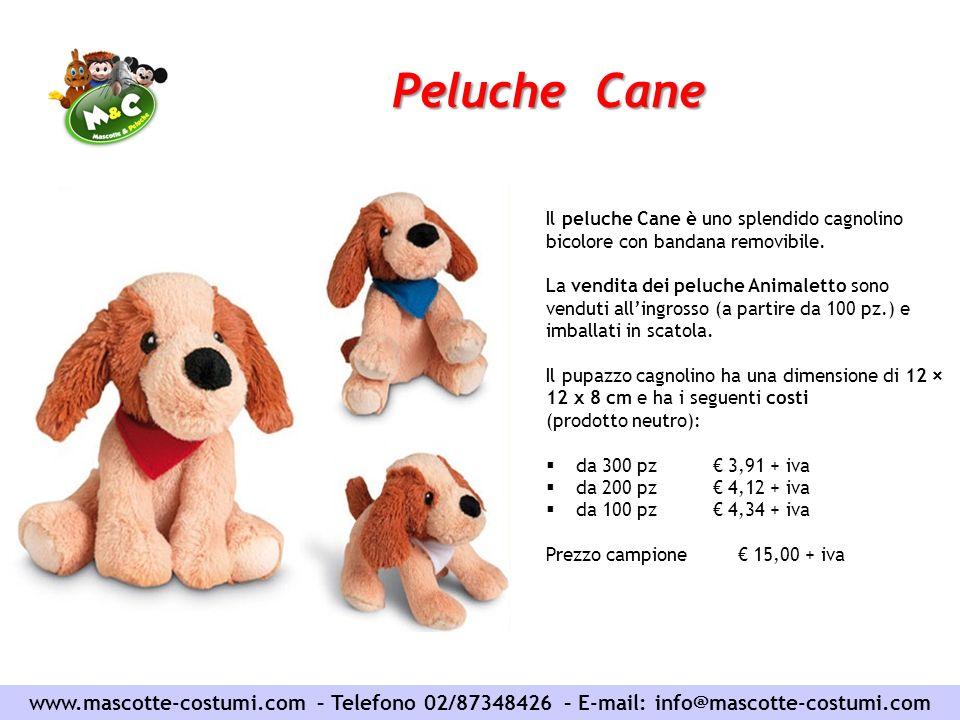 Peluche Cane www.mascotte-costumi.com – Telefono 02/87348426 – E-mail: info@mascotte-costumi.com Il peluche Cane è uno splendido cagnolino bicolore co