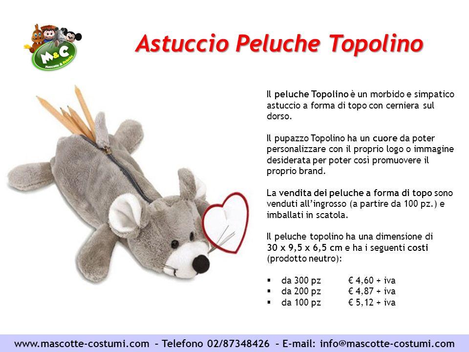 Astuccio Peluche Topolino www.mascotte-costumi.com – Telefono 02/87348426 – E-mail: info@mascotte-costumi.com Il peluche Topolino è un morbido e simpa