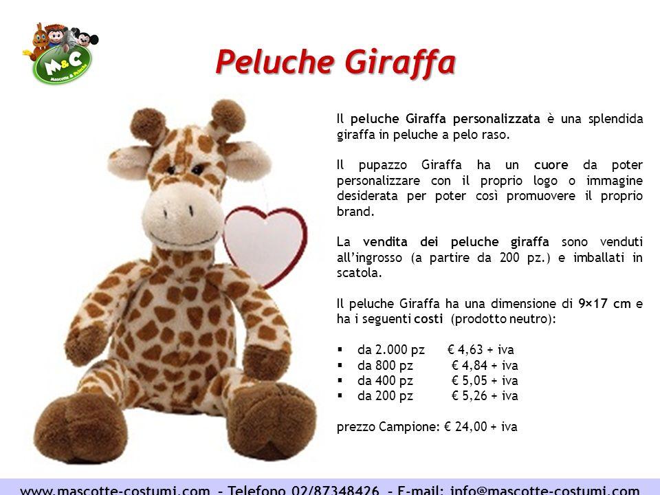 Peluche Giraffa www.mascotte-costumi.com – Telefono 02/87348426 – E-mail: info@mascotte-costumi.com Il peluche Giraffa personalizzata è una splendida