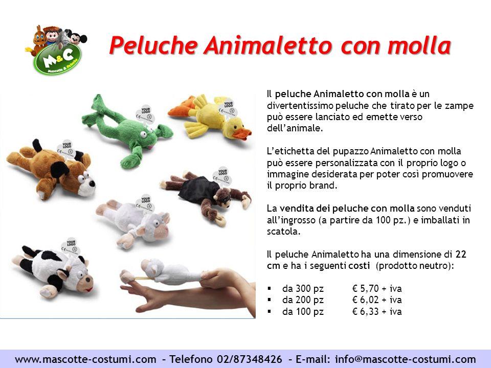 Peluche Animaletto con molla www.mascotte-costumi.com – Telefono 02/87348426 – E-mail: info@mascotte-costumi.com Il peluche Animaletto con molla è un