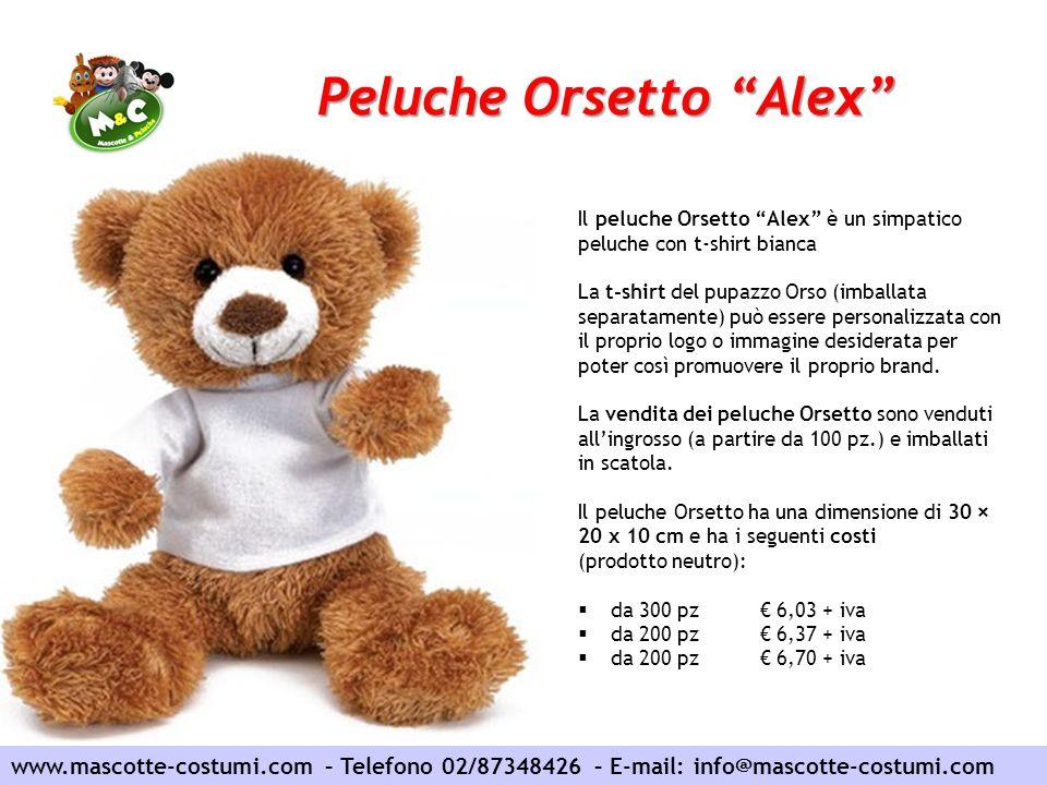 Peluche Orsetto Alex www.mascotte-costumi.com – Telefono 02/87348426 – E-mail: info@mascotte-costumi.com Il peluche Orsetto Alex è un simpatico peluch