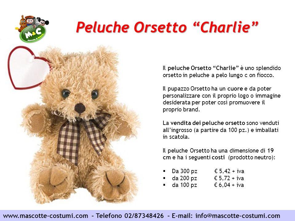Peluche Orsetto Charlie www.mascotte-costumi.com – Telefono 02/87348426 – E-mail: info@mascotte-costumi.com Il peluche Orsetto Charlie è uno splendido