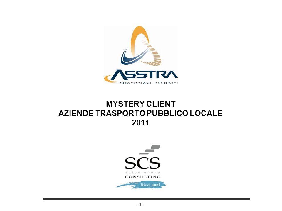 - 1 - MYSTERY CLIENT AZIENDE TRASPORTO PUBBLICO LOCALE 2011
