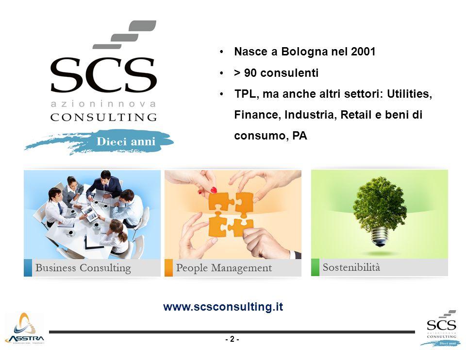- 2 - Nasce a Bologna nel 2001 > 90 consulenti TPL, ma anche altri settori: Utilities, Finance, Industria, Retail e beni di consumo, PA www.scsconsulting.it