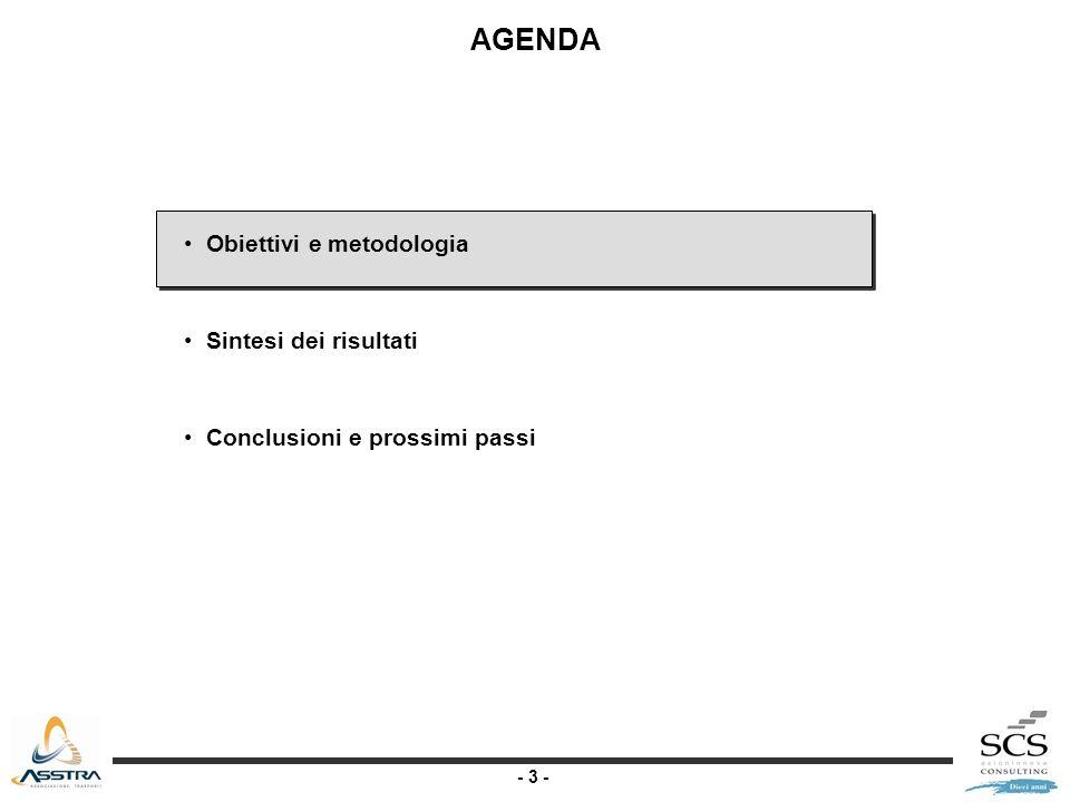 - 14 - AGENDA Obiettivi e metodologia Sintesi dei risultati* I risultati complessivi I risultati per ambito di rilevazione Conclusioni e prossimi passi *Dettagli e allegati disponibili presso desk esterno