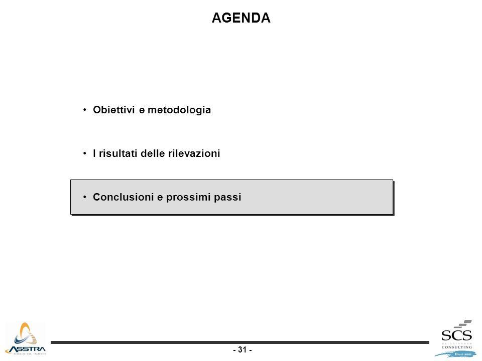 - 31 - AGENDA Obiettivi e metodologia I risultati delle rilevazioni Conclusioni e prossimi passi