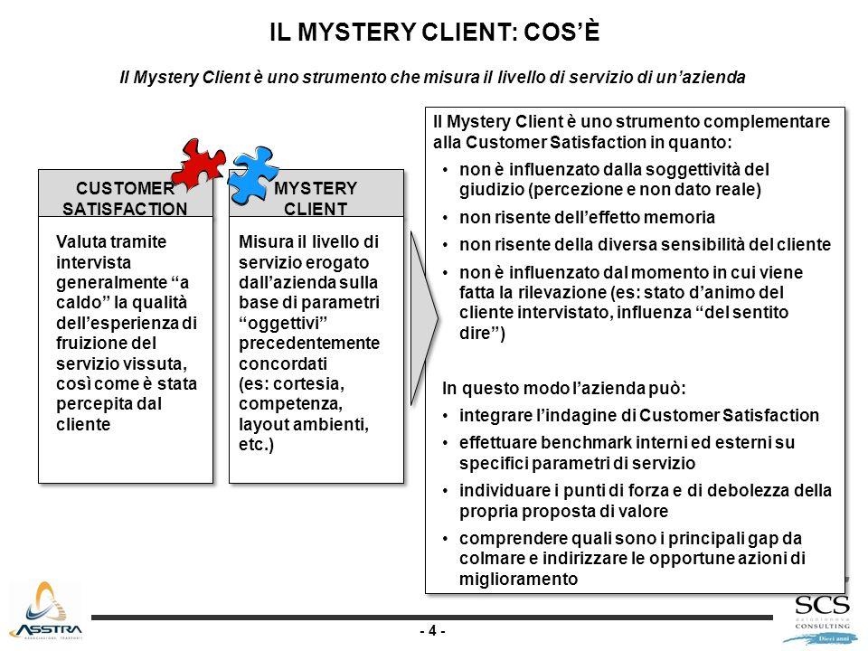 - 4 - Il Mystery Client è uno strumento complementare alla Customer Satisfaction in quanto: non è influenzato dalla soggettività del giudizio (percezi