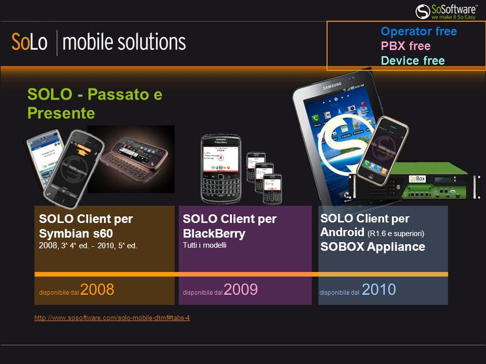 SOLO - Passato e Presente disponibile dal 2008 SOLO Client per Symbian s60 2008, 3 ^ 4 ^ ed.