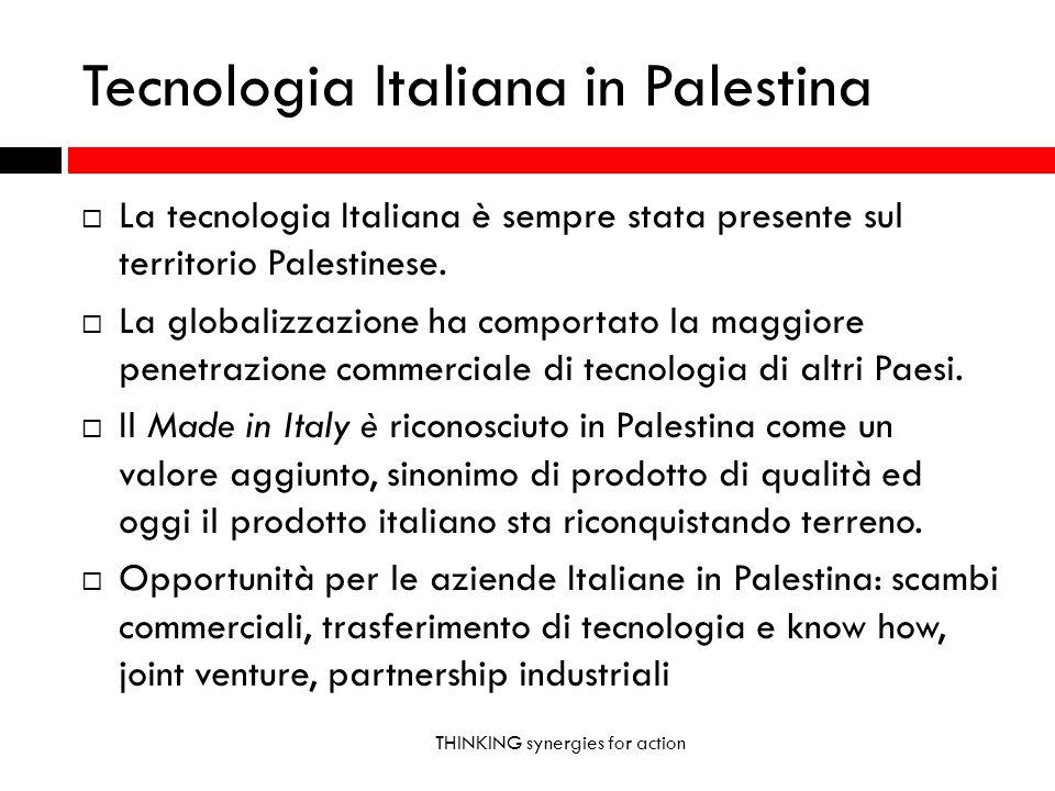 Tecnologia Italiana in Palestina THINKING synergies for action La tecnologia Italiana è sempre stata presente sul territorio Palestinese. La globalizz