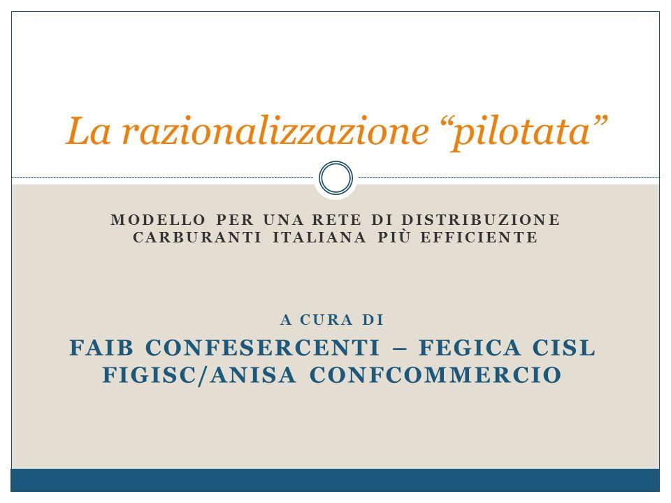MODELLO PER UNA RETE DI DISTRIBUZIONE CARBURANTI ITALIANA PIÙ EFFICIENTE La razionalizzazione pilotata A CURA DI FAIB CONFESERCENTI – FEGICA CISL FIGISC/ANISA CONFCOMMERCIO