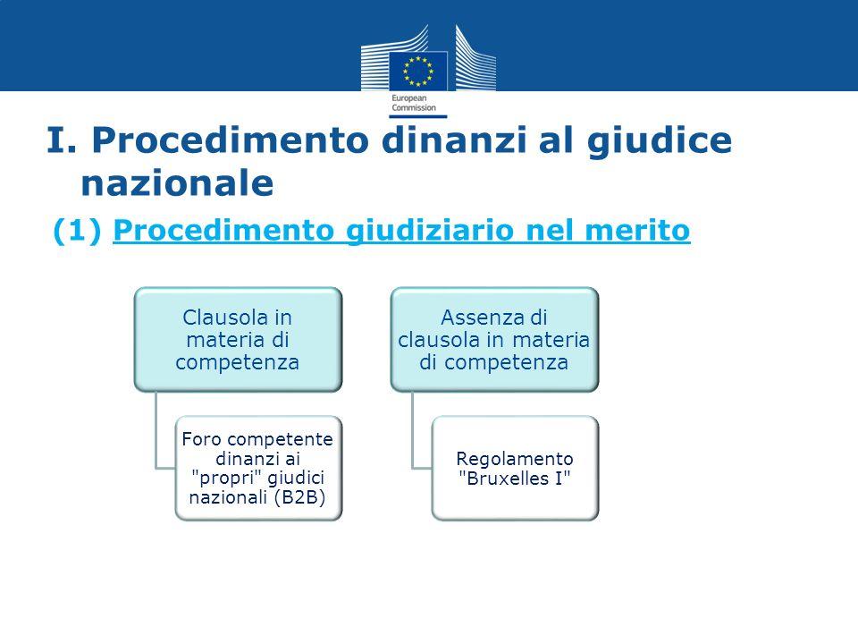 I. Procedimento dinanzi al giudice nazionale (1) Procedimento giudiziario nel merito Clausola in materia di competenza Foro competente dinanzi ai