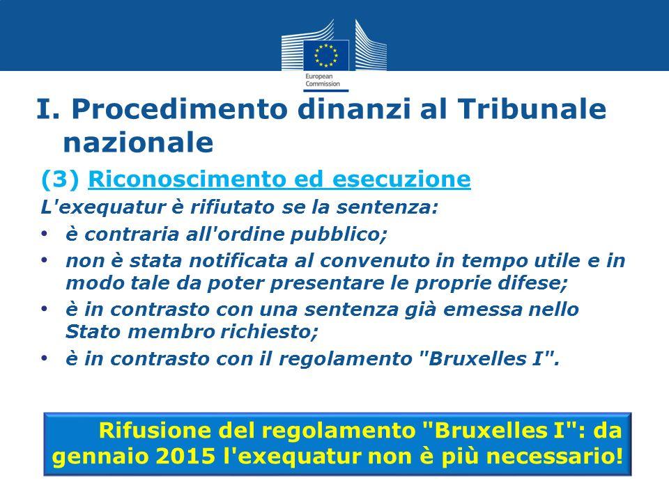 (3) Riconoscimento ed esecuzione L'exequatur è rifiutato se la sentenza: è contraria all'ordine pubblico; non è stata notificata al convenuto in tempo