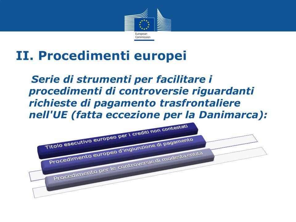 II. Procedimenti europei Serie di strumenti per facilitare i procedimenti di controversie riguardanti richieste di pagamento trasfrontaliere nell'UE (