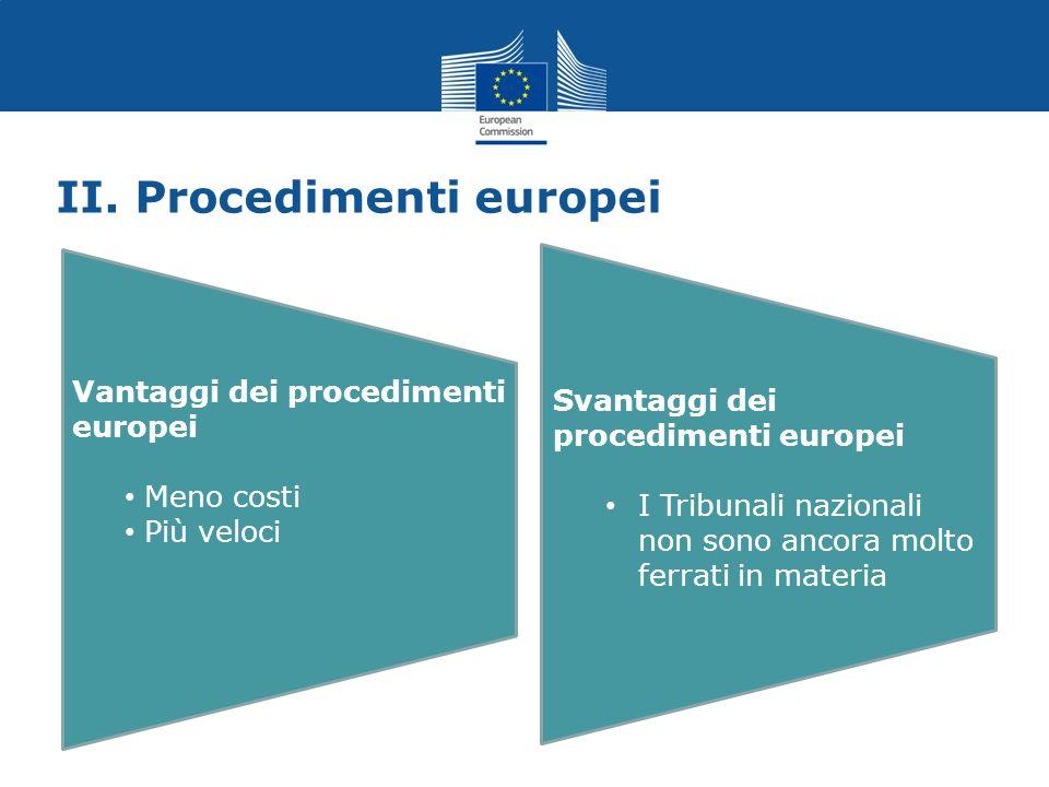 II. Procedimenti europei Vantaggi dei procedimenti europei Meno costi Più veloci Svantaggi dei procedimenti europei I Tribunali nazionali non sono anc