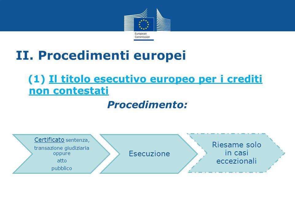 II. Procedimenti europei (1) Il titolo esecutivo europeo per i crediti non contestati Procedimento: Certificato sentenza, transazione giudiziaria oppu