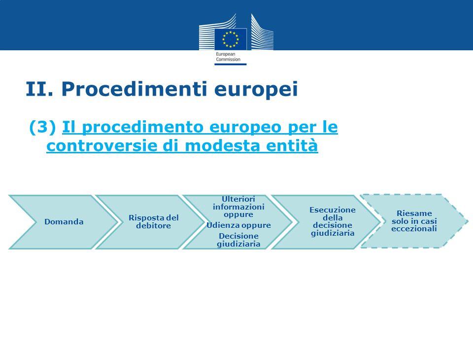 II. Procedimenti europei (3) Il procedimento europeo per le controversie di modesta entità Domanda Risposta del debitore Ulteriori informazioni oppure