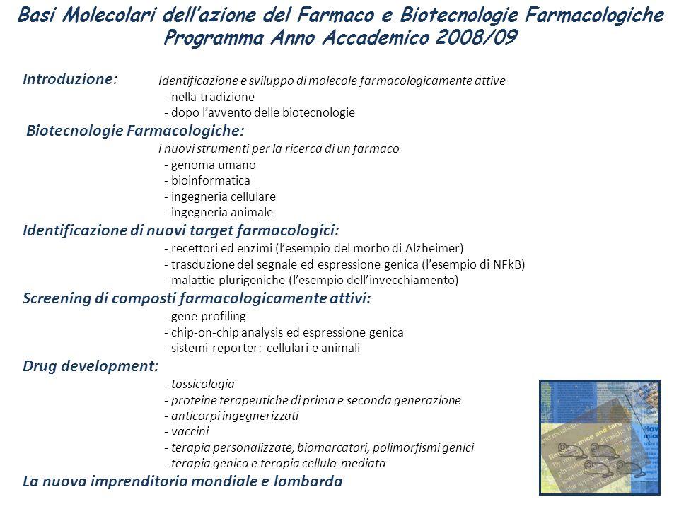 Introduzione: Identificazione e sviluppo di molecole farmacologicamente attive - nella tradizione - dopo lavvento delle biotecnologie Biotecnologie Fa