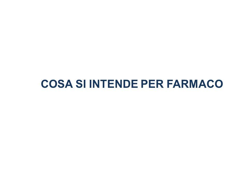 Definizioni di MEDICINALE o FARMACO: UNA SOSTANZA CHE PER LE SUE PROPRIETA CHIMICO-FISICHE E IN GRADO DI DETERMINARE IN UN ORGANISMO VIVENTE VARIAZIONI FUNZIONALI ALTRESI CHIAMATE attività farmacologica D.Lgs.178 del 29 maggio 1991...