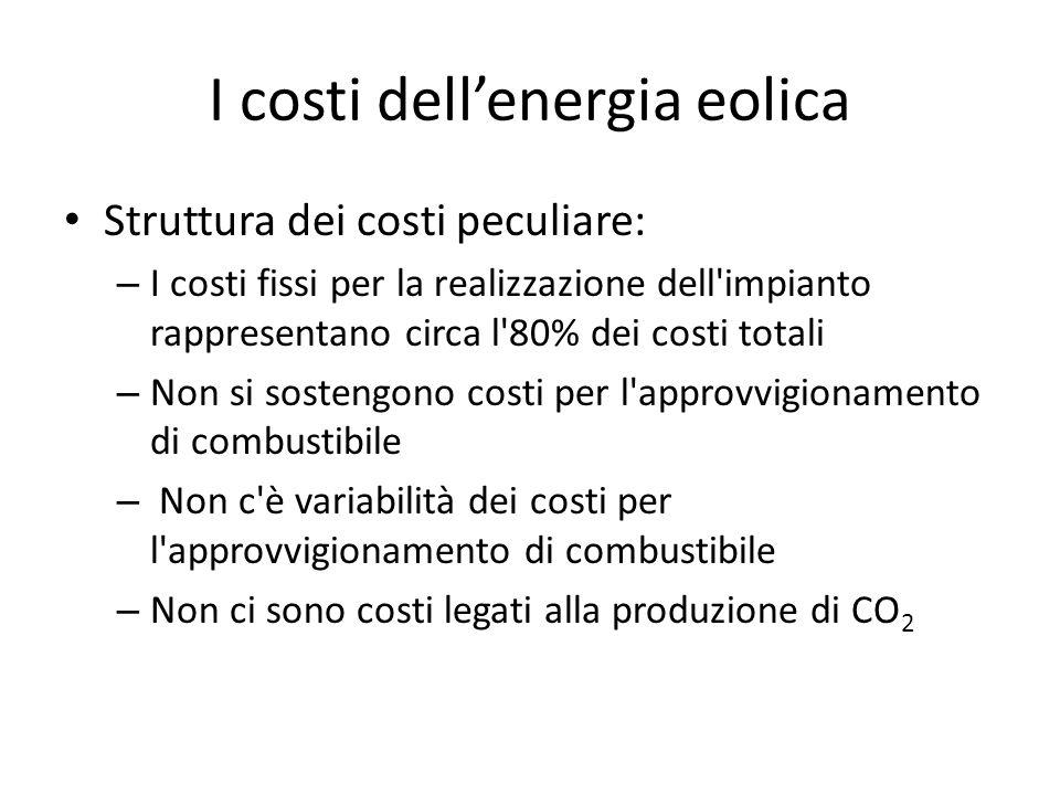 Struttura dei costi peculiare: – I costi fissi per la realizzazione dell impianto rappresentano circa l 80% dei costi totali – Non si sostengono costi per l approvvigionamento di combustibile – Non c è variabilità dei costi per l approvvigionamento di combustibile – Non ci sono costi legati alla produzione di CO 2