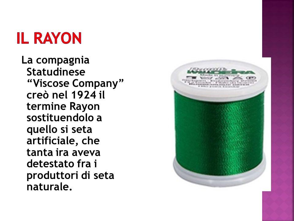 La compagnia Statudinese Viscose Company creò nel 1924 il termine Rayon sostituendolo a quello si seta artificiale, che tanta ira aveva detestato fra