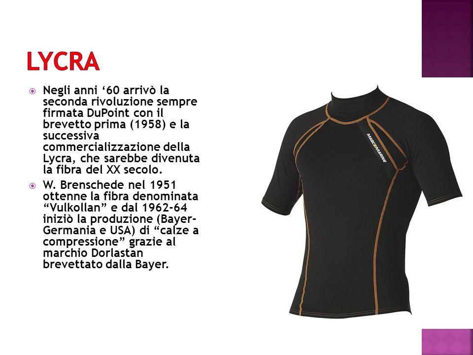 Negli anni 60 arrivò la seconda rivoluzione sempre firmata DuPoint con il brevetto prima (1958) e la successiva commercializzazione della Lycra, che s