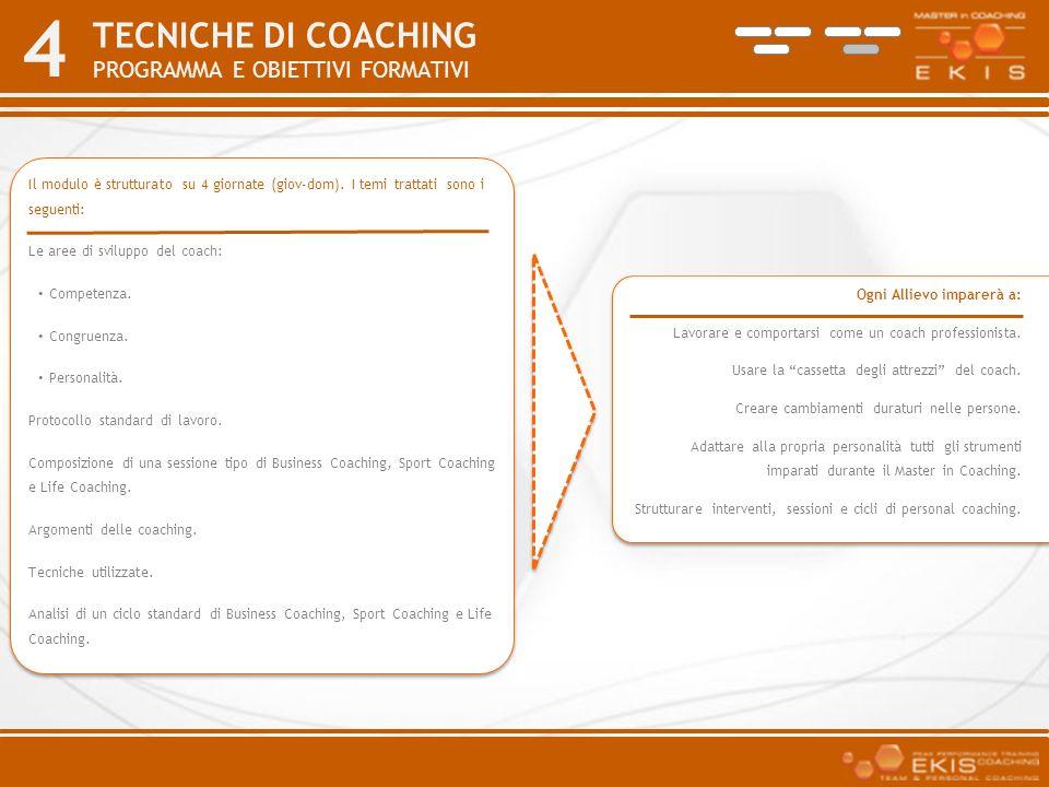 4 TECNICHE DI COACHING PROGRAMMA E OBIETTIVI FORMATIVI Ogni Allievo imparerà a: Lavorare e comportarsi come un coach professionista. Usare la cassetta