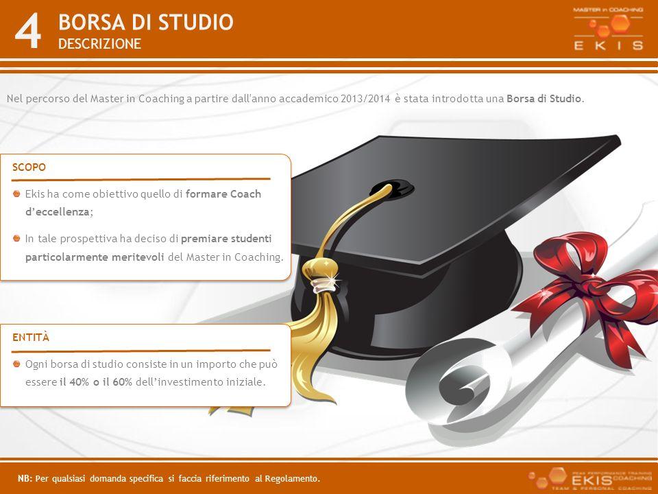 4 BORSA DI STUDIO DESCRIZIONE SCOPO Ekis ha come obiettivo quello di formare Coach deccellenza; In tale prospettiva ha deciso di premiare studenti par