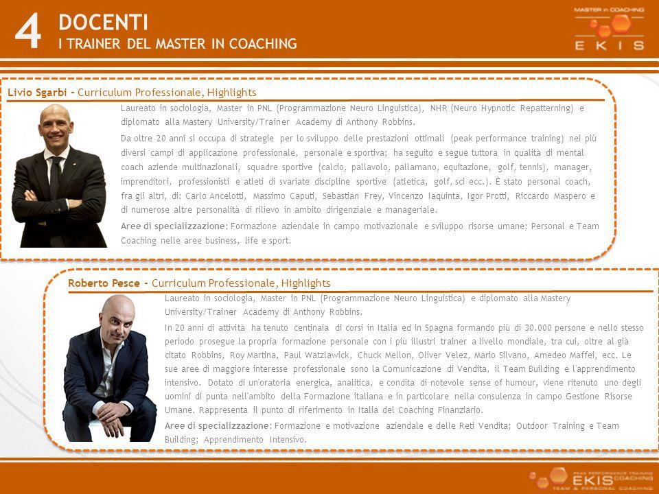 4 DOCENTI I TRAINER DEL MASTER IN COACHING Laureato in sociologia, Master in PNL (Programmazione Neuro Linguistica), NHR (Neuro Hypnotic Repatterning)