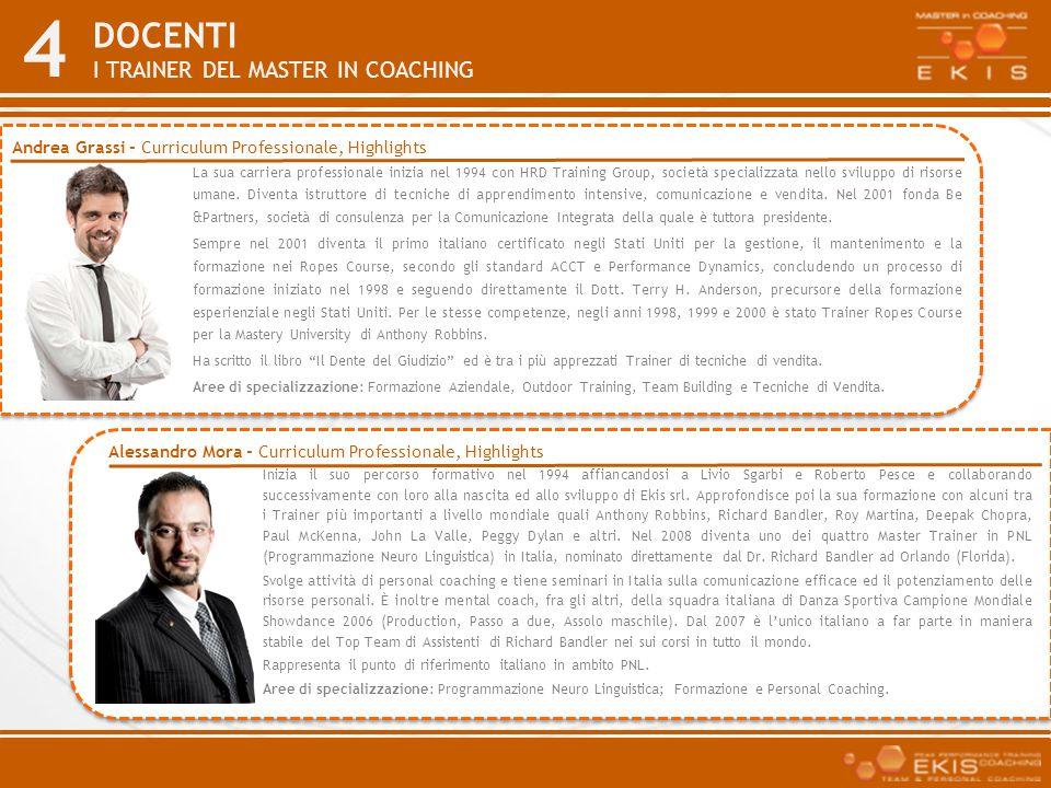 4 DOCENTI I TRAINER DEL MASTER IN COACHING La sua carriera professionale inizia nel 1994 con HRD Training Group, società specializzata nello sviluppo