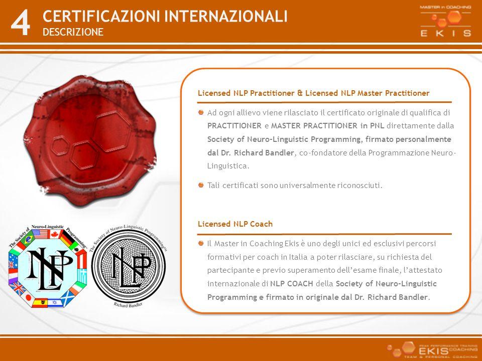4 CERTIFICAZIONI INTERNAZIONALI DESCRIZIONE Licensed NLP Practitioner & Licensed NLP Master Practitioner Ad ogni allievo viene rilasciato il certifica