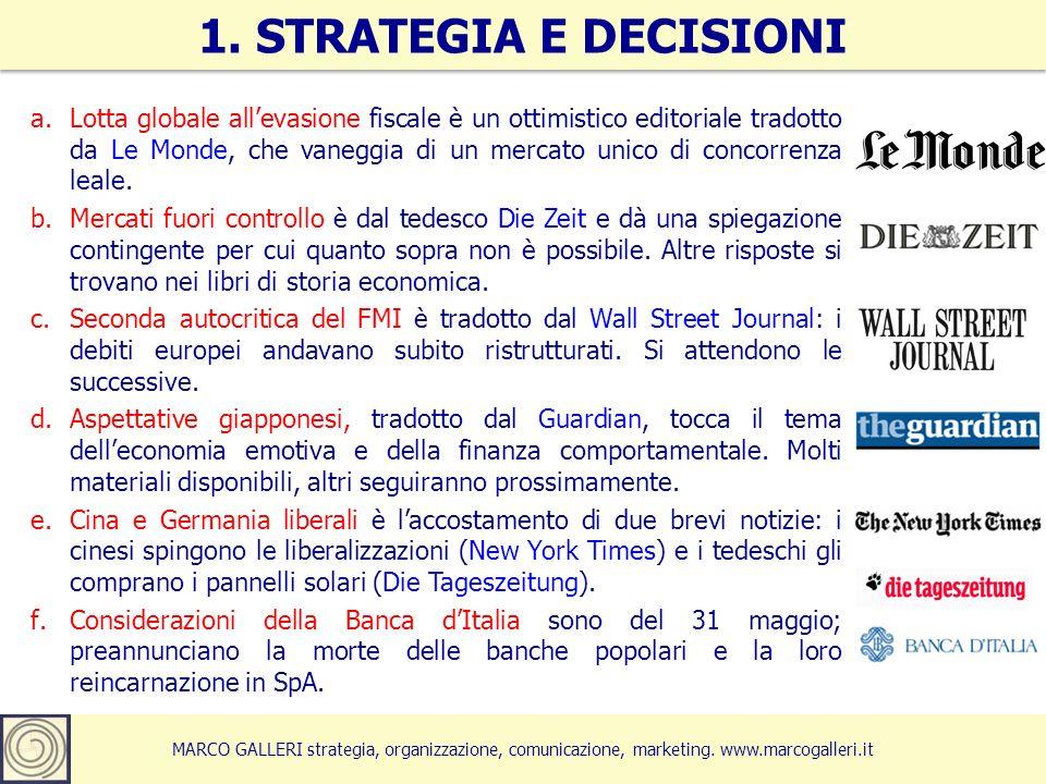 MARCO GALLERI strategia, organizzazione, comunicazione, marketing. www.marcogalleri.it a.Lotta globale allevasione fiscale è un ottimistico editoriale