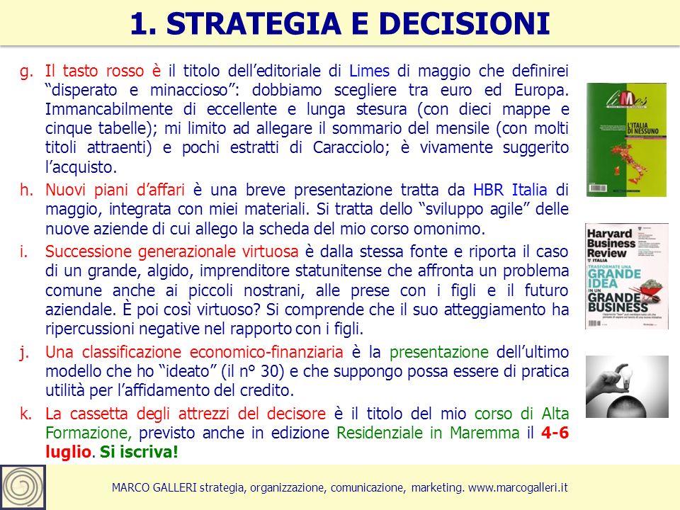 MARCO GALLERI strategia, organizzazione, comunicazione, marketing. www.marcogalleri.it g.Il tasto rosso è il titolo delleditoriale di Limes di maggio