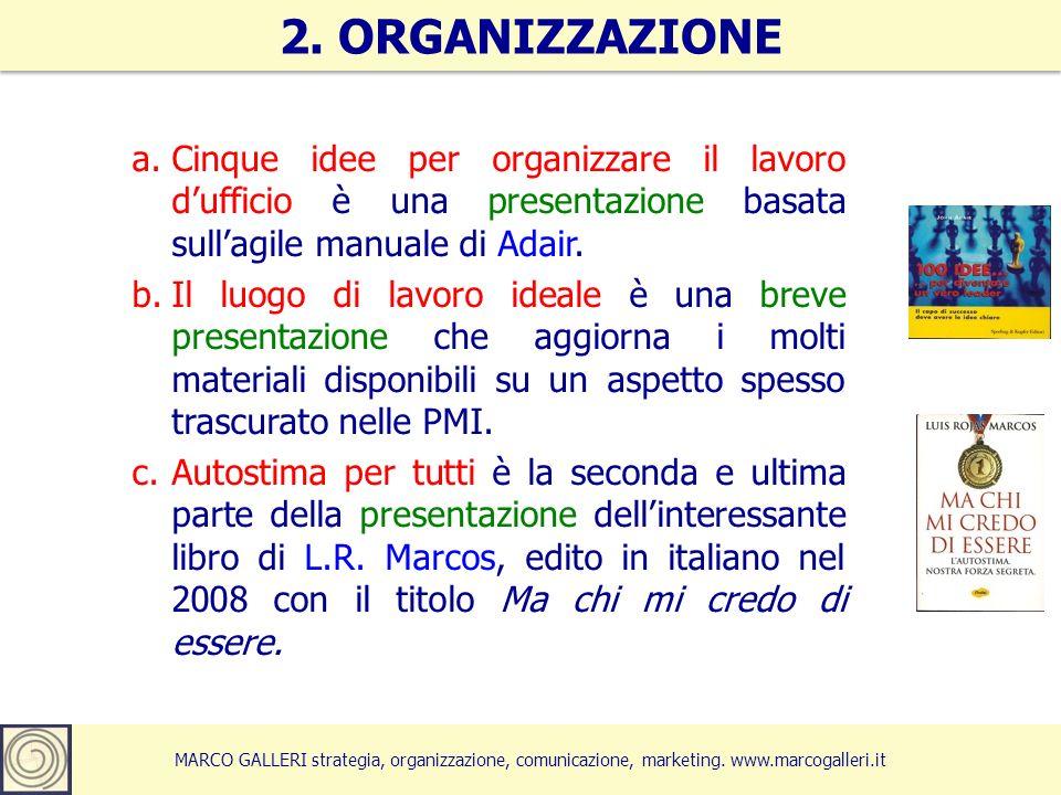 MARCO GALLERI strategia, organizzazione, comunicazione, marketing. www.marcogalleri.it a.Cinque idee per organizzare il lavoro dufficio è una presenta