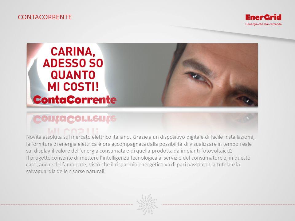 CONTACORRENTE Novità assoluta sul mercato elettrico italiano. Grazie a un dispositivo digitale di facile installazione, la fornitura di energia elettr