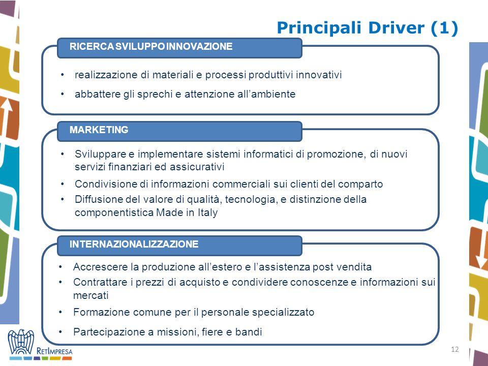 12 Principali Driver (1) INTERNAZIONALIZZAZIONE Accrescere la produzione allestero e lassistenza post vendita Contrattare i prezzi di acquisto e condi