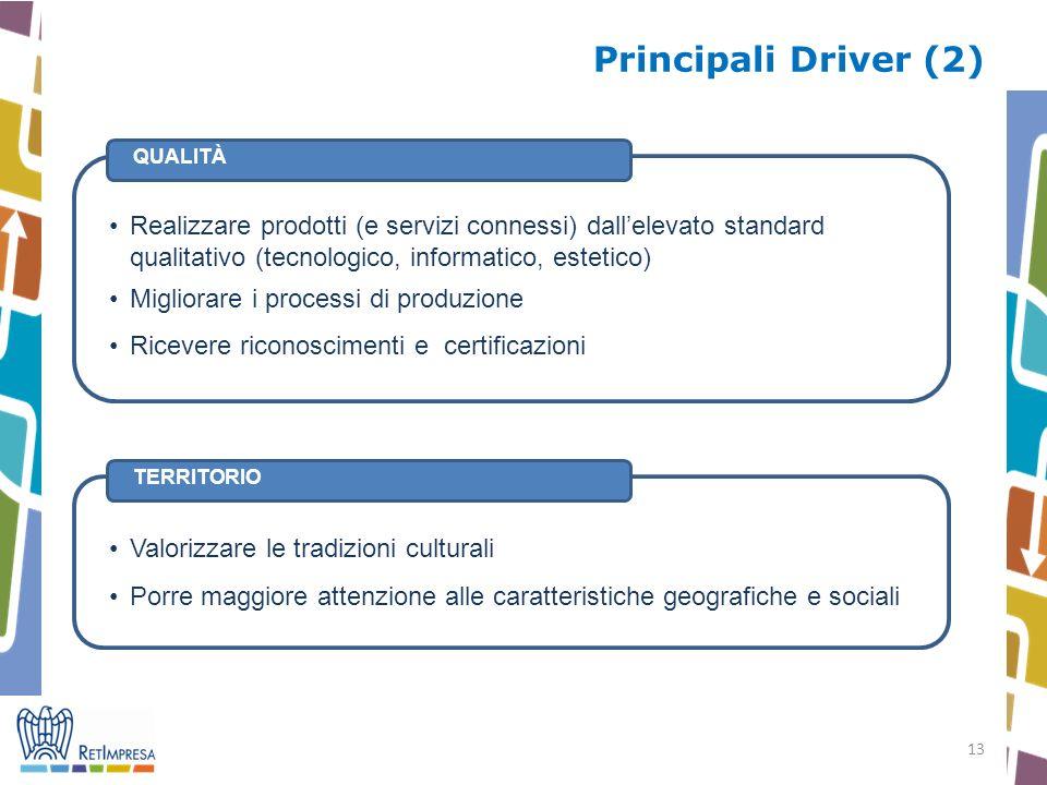 13 Principali Driver (2) TERRITORIO QUALITÀ Realizzare prodotti (e servizi connessi) dallelevato standard qualitativo (tecnologico, informatico, estet