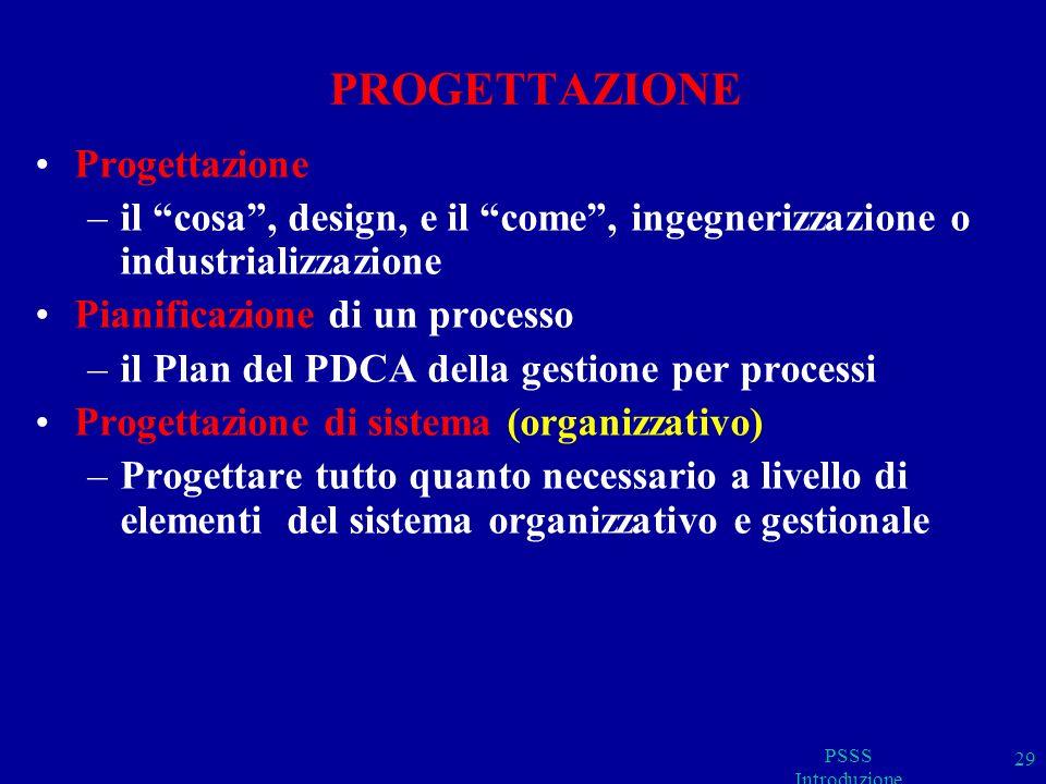 PSSS Introduzione 29 PROGETTAZIONE Progettazione –il cosa, design, e il come, ingegnerizzazione o industrializzazione Pianificazione di un processo –i