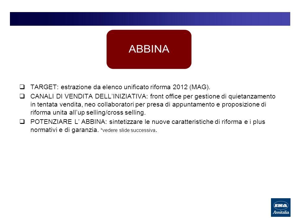 TARGET: estrazione da elenco unificato riforma 2012 (MAG). CANALI DI VENDITA DELLINIZIATIVA: front office per gestione di quietanzamento in tentata ve