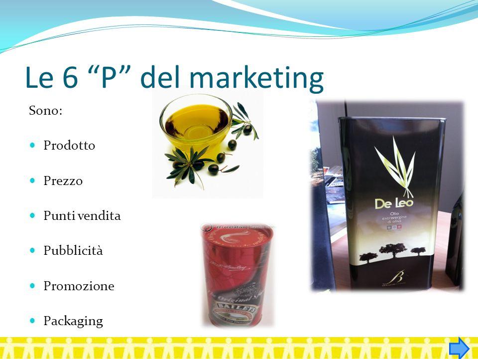 Le 6 P del marketing Sono: Prodotto Prezzo Punti vendita Pubblicità Promozione Packaging