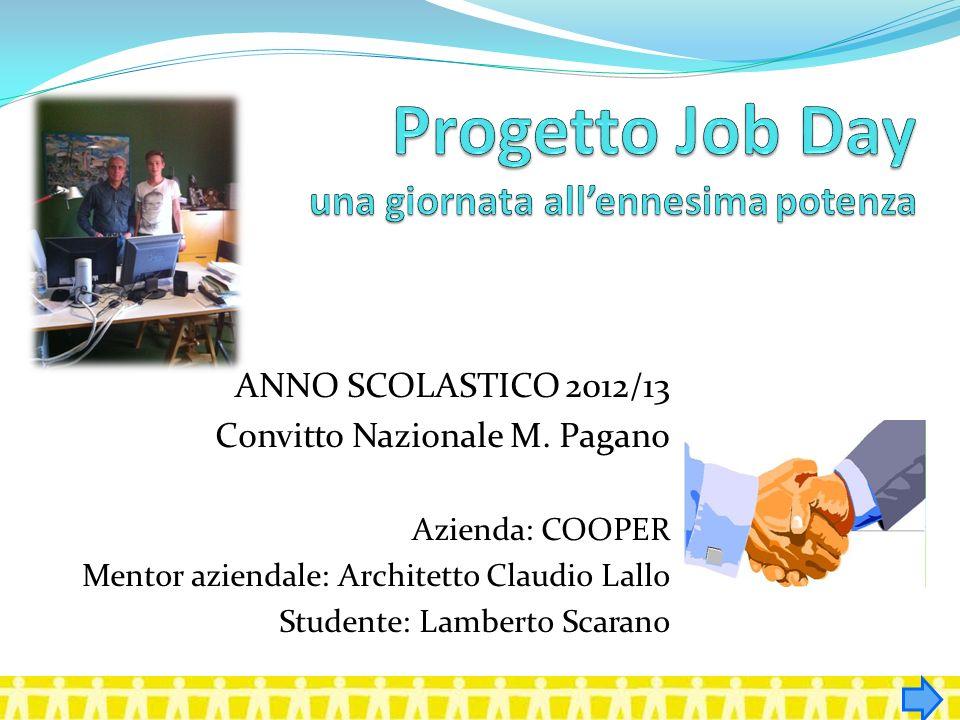 ANNO SCOLASTICO 2012/13 Convitto Nazionale M. Pagano Azienda: COOPER Mentor aziendale: Architetto Claudio Lallo Studente: Lamberto Scarano