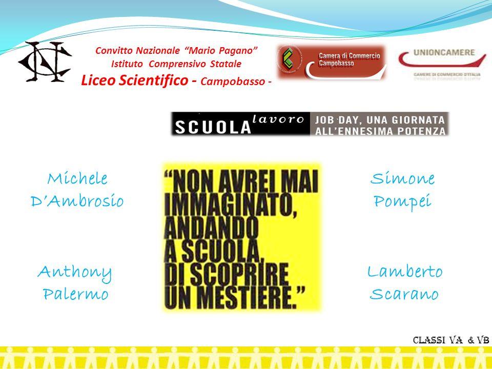 Michele DAmbrosio Simone Pompei Anthony Palermo Lamberto Scarano Classi VA & VB Convitto Nazionale Mario Pagano Istituto Comprensivo Statale Liceo Sci