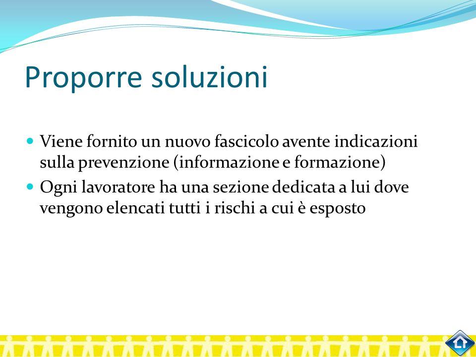 Proporre soluzioni Viene fornito un nuovo fascicolo avente indicazioni sulla prevenzione (informazione e formazione) Ogni lavoratore ha una sezione de