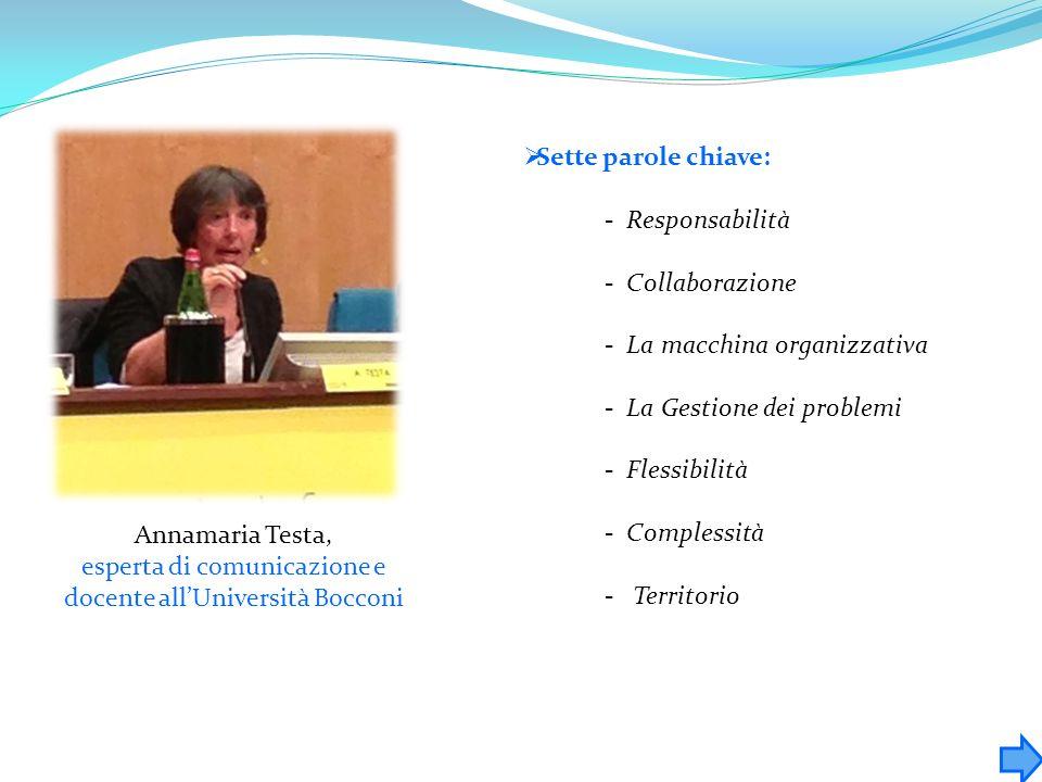 Annamaria Testa, esperta di comunicazione e docente allUniversità Bocconi Sette parole chiave: - Responsabilità - Collaborazione - La macchina organiz