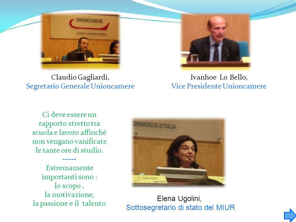 Claudio Gagliardi, Segretario Generale Unioncamere Ivanhoe Lo Bello, Vice Presidente Unioncamere Elena Ugolini, Sottosegretario di stato del MIUR Ci d